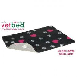 Vetbed protiskluz-Drybed Grafit+Růžové Srdce 150x100cm 2000g,30mm
