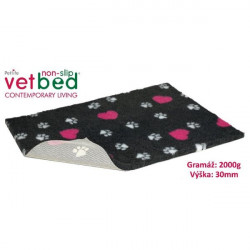 Vetbed protiskluz/Drybed Grafit+Růžové Srdce 100x75cm 2000g,30mm